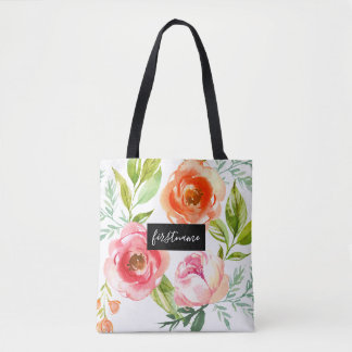 Modern Flowers with Upscale Monogram Tote Bag