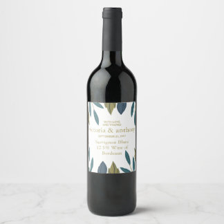 Modern Foliage Floral Wedding Wine Label