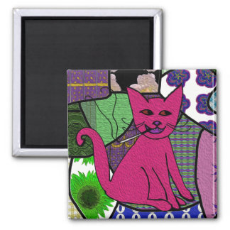 Modern Folk Art Smoking Cat Refrigerator Magnet
