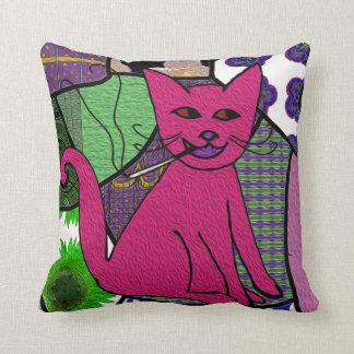 Modern Folk Art Smoking Cat Throw Pillow