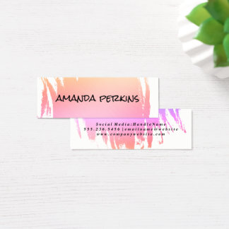 Modern Font with Color Brushed Monogram Mini Business Card