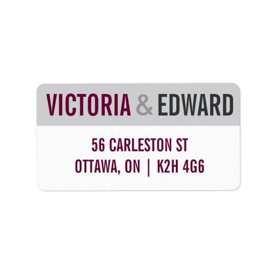 Modern Fonts wedding label Address Label