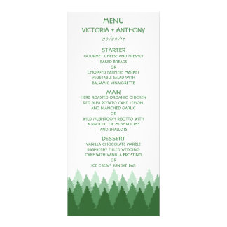 Modern Forest Range Woodland Wedding Menu