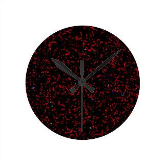Modern Fractal Art Black Red Patterns Stylish Cool Round Clock