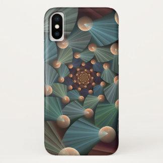 Modern Fractal Art With Depth, Brown, Slate, Blue iPhone X Case