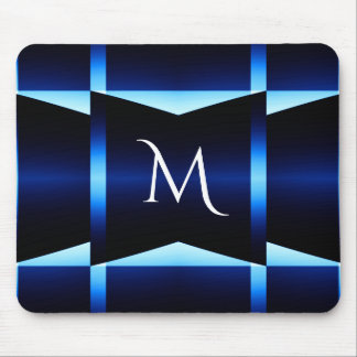 Modern Fractured Blue & Teal Squares With Monogram Mouse Pad