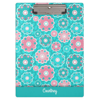Modern fresh pink aqua personalized clipboard