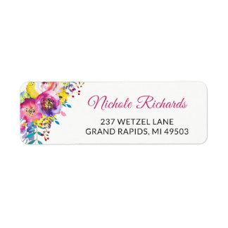 Modern Fuchsia Gold Watercolor Botanic Garden Return Address Label