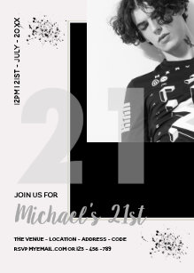 Male 21st Birthday Invitations