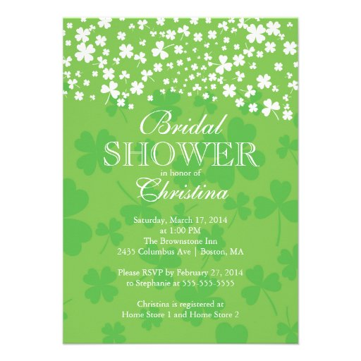 Modern Fun Irish Shamrock Bridal Shower Invitation