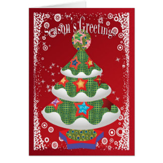 Modern Funky Christmas Tree Greeting Card