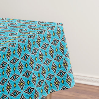Modern funky contemporary diamond blue yellow tablecloth