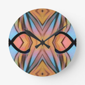 Modern Funky Neutral Pastel Abstract Pattern Clock