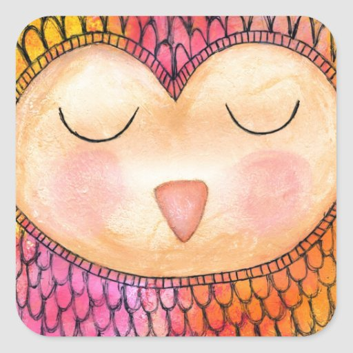 Modern Funky Sleepy Owl Mixed Media Painting Square Stickers