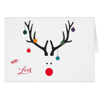 Modern funny abstract Christmas reindeer on white Card