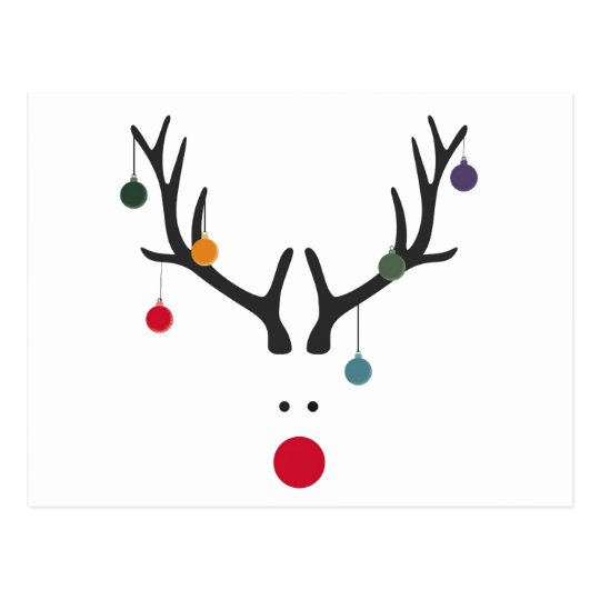 Modern funny abstract Christmas reindeer on white Postcard
