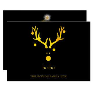 Modern funny Christmas card reindeer gold black