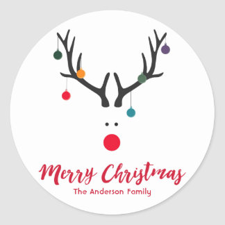 Modern funny Christmas reindeer on white Classic Round Sticker