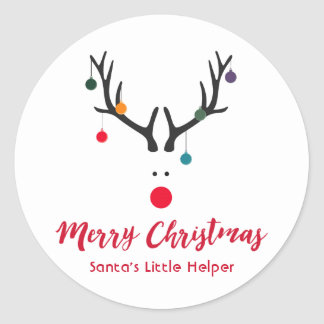 Modern funny Santa's helper reindeer on white Classic Round Sticker