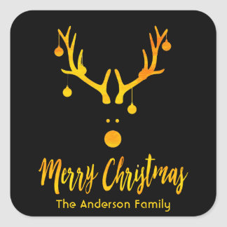 Modern funny Santa's reindeer faux gold on black Square Sticker