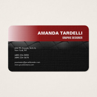Modern Futuristic Elegant Minimalist Red Black Business Card