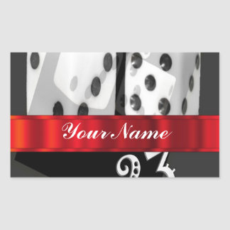 Modern gambling dice rectangular sticker