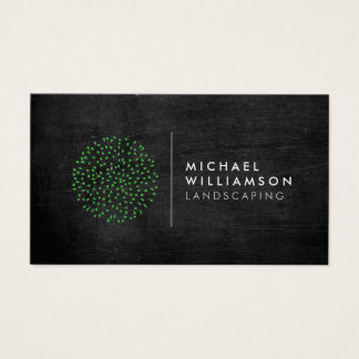 Modern Gardener Landscaping Logo on Black Wood Business Card