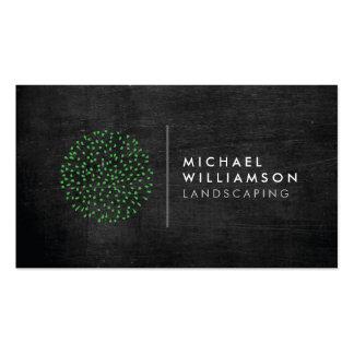 Modern Gardener Landscaping Logo on Black Wood Pack Of Standard Business Cards