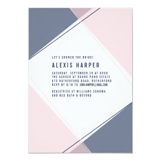 Modern Gem Blush and Navy Bridal Shower Invitation