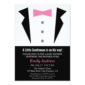 """Modern Gentleman Tuxedo Bow Tie Baby Boy Shower 4.5"""" X 6.25"""" Invitation Card"""