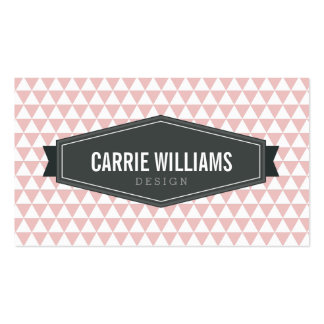MODERN GEO PATTERN smart badge logo baby pink gray Pack Of Standard Business Cards