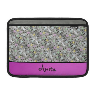 Modern Geology Granite Pastel Dots any Name Pink MacBook Sleeve