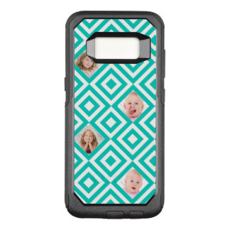 Modern Geometric 4 Photo Collage in Teal OtterBox Commuter Samsung Galaxy S8 Case