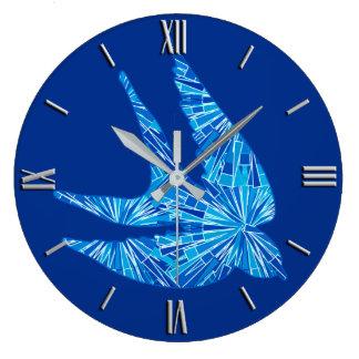 Modern Geometric Bird, Cobalt and Sky Blue Clocks