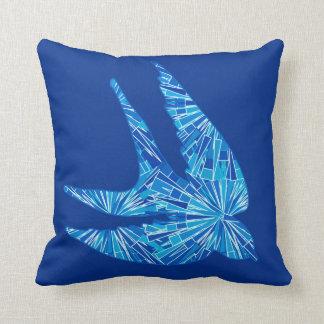 Modern Geometric Bird, Cobalt and Sky Blue Cushion
