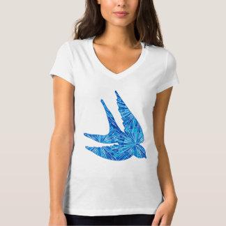 Modern Geometric Bird, Cobalt and Sky Blue T-Shirt