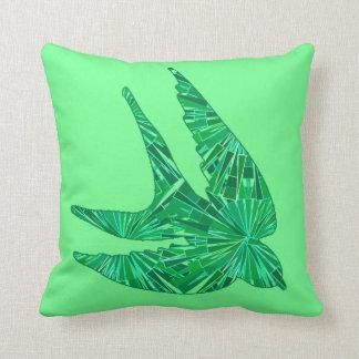Modern Geometric Bird, Jade and Emerald Green Cushion