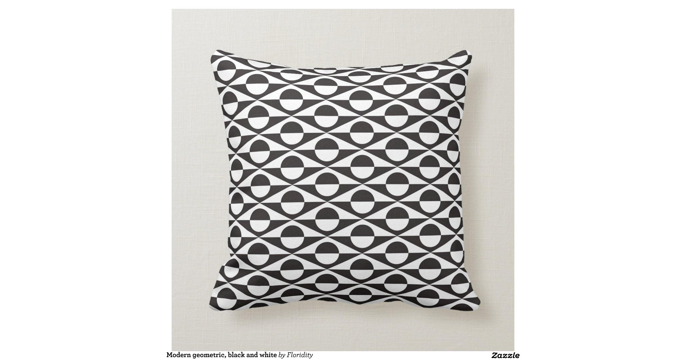 Modern White Pillow : Modern geometric, black and white pillow Zazzle