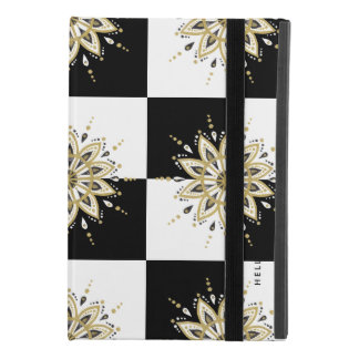 Modern Geometric Black Gold & White Mandala iPad Mini 4 Case