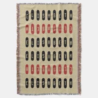 Modern Geometric Black Red Custom Name Throw Blanket