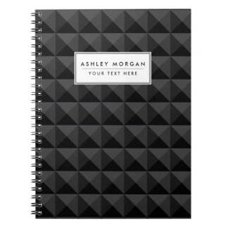 Modern Geometric Black Square Pattern Spiral Notebook