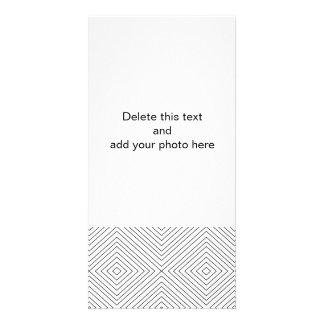 Modern Geometric Black Squares Pattern on White Co Custom Photo Card
