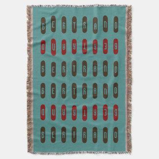 Modern Geometric Brown Red Teal Custom Name Throw Blanket