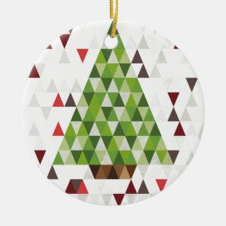 Modern Geometric Christmas Tree Art Ceramic Ornament