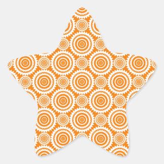 Modern Geometric Circles Orange and White Pattern Star Sticker