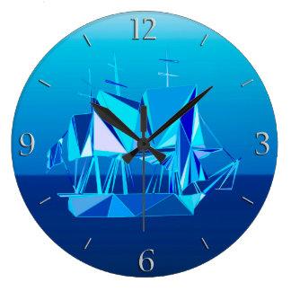 Modern Geometric Clipper Ship, Cobalt Blue Clock
