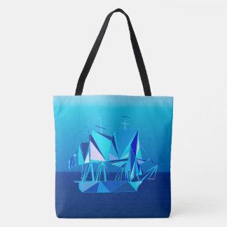 Modern Geometric Clipper Ship, Cobalt Blue Tote Bag