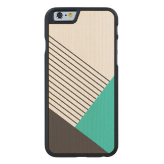 Modern Geometric Color Blocking Carved Maple iPhone 6 Case
