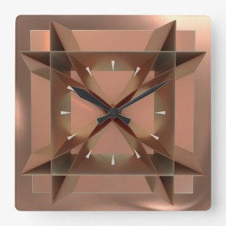 Modern Geometric Copper Coloured Square Wall Clock