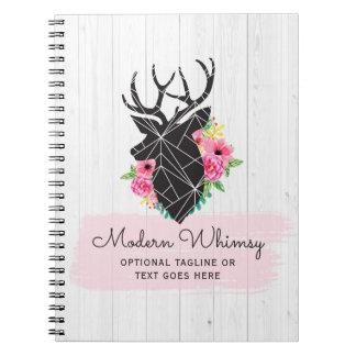 Modern Geometric Deer & Shabby Roses Rustic Wood Notebooks